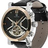 ESS Tourbillon Date Mechanical Wrist Watch Black Mens Men Man Rose Golden Leather WM353