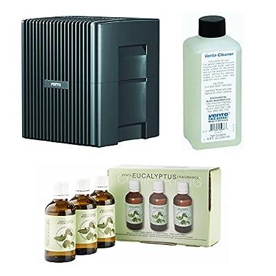 Venta LW25G Humidifier & Airwasher Charcoal Gray Metallic withVenta Airwasher Eucalyptus Fragrance and Venta Airwasher 6001040 Venta Airwasher Cleaning Solution, 8-oz Bundle