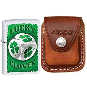 Zippo 28298 Classic Lucky Clover Dice White Matte Windproof Lighter with Zippo Brown Leather Clip Pouch