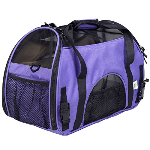 Small Pet Carrier Soft Sided Cat Dog Comfort Travel Tote Shoulder Bag (Purple)