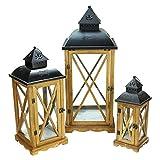 "Set of 3 Country Elegance Wooden Garden Style Glass Pillar Candle Lanterns 14.75"" - 27.75"""