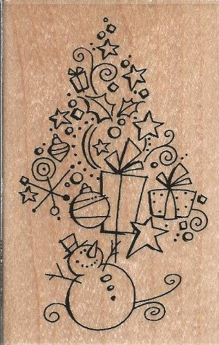 Doodle Tree Wood Mounted Rubber Stamp (M198)