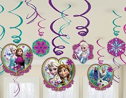 Diseny Frozen Party Foil Hanging Swirl Decorations / Spiral Ornaments (12 PCS)- Party Supply, Party Decorations