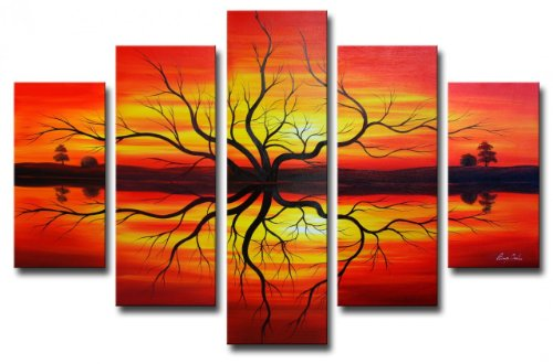 Sangu 100% Hand Painted Wood Framed Sundown Impressions Tree Abstract Paintings For Living Room Modern Oil Paintings Gift on Canvas 5-piece Art Wall Decor