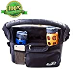 BLACK FRIDAY SALE! 40% OFF - Deluxe Stroller Organizer By ZenKid, Black - Versatile Baby Stroller Organizer, Stroller Cup Holder, and Diaper Bag - ✮ENDORSED BY PARENTS✮ Rated 5/5 Stars ✮ Fits Most Strollers and Handlebars ✮ A Must Have Stroller Accessory ✮ 100% Satisfaction Guarantee! ✮ Extra Large Insulated Cup and Bottle Holders ✮ Very Spacious ✮ Keeps Your Keys, Cell Phone and Essentials SAFE ✮ Perfect Baby Shower Gift ✮ Great Gift For New Parents
