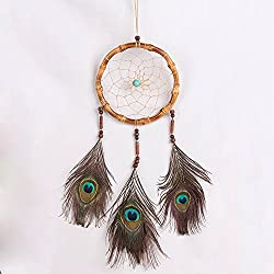 Ydtek Handmade Natural Bamboo Dream Catcher With Peacock Feather Retro style Big Circle Dreamcatcher House Car Hanging Decoration Gift