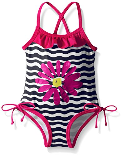 Pink Platinum Baby Big Flower and Wave Swimsuit, Navy, 12 Months