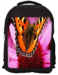 """Snoogg Butterfly In Pink Flower Casual Laptop Backpak Fits All 15 - 15.6"""" Inch Laptops"""