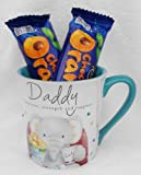 Cute Elliot & Buttons Daddy Mug / Cup With Terry's Chocolate Orange Bars - Cellophane & Ribbon Gift Presented