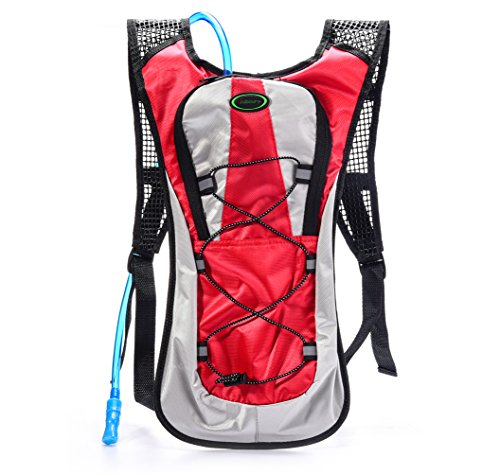 Hydration Backpack–Juboury Water Rucksack Bladder Bag for Running Hiking Cycling and Any Other Outdoor Sports with Free 2L TPU Hydration Bladder (Red)