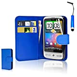 CellDeal Flip Wallet Leather Case Cover For HTC Desire C Free Screen Protector + Blue