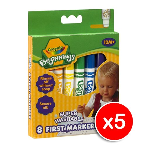 Crayola 8 Super Washable First Markers x5
