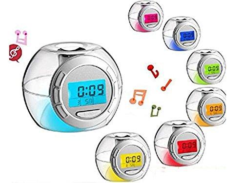 Sefuu LED 置き時計 デジタル目覚まし時計 デジタル時計 タイマー 温度計 カレンダー デジタル表示 曜日付 アラームクロック かわいいデザイン 七色発光自動変色 癒しのサウンド5パターン