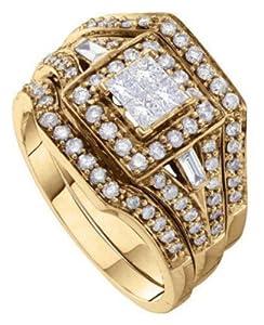 Pricegems 14K Yellow Gold Ladies Princess Diamond Invisible Set Bridal Ring Size: 6.75)