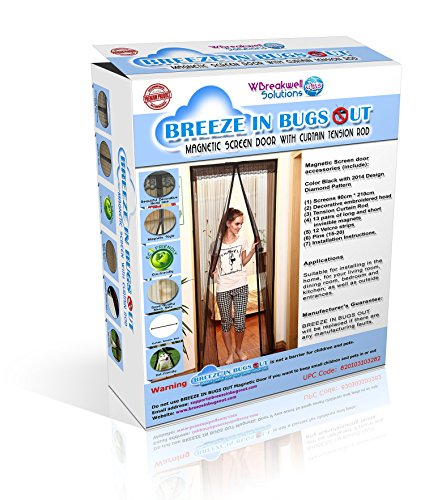Tension Rod With Screen Door : Breeze in bugs out magnetic screen door with curtain
