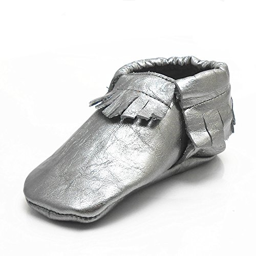 Sayoyo Baby Silver Tassels Soft Sole Leather Infant Toddler Prewalker Shoes