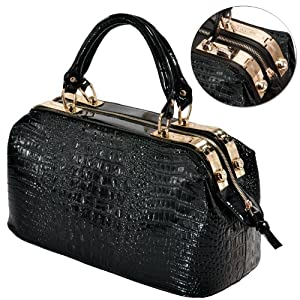 MG Collection ELPIDA High Gloss Black Faux Crocodile Rhinestones Accent Handbag