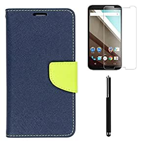 Relax And Shop Combo of Flip Cover For Lenovo A2010- (Blue Flip+Tempered+Stylus)