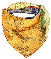 Olina Women's High-Grade Elegant 100% Luxury Square Silk Scarf (Van Gogh - Road with Cypress and Star)