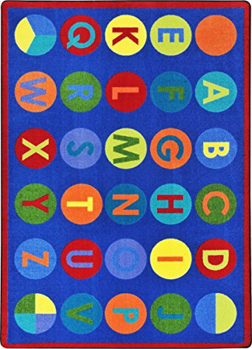 "Joy Carpets Kid Essentials Early Childhood Alpha-Dots Rug, Multicolored, 5'4"" x 7'8"""