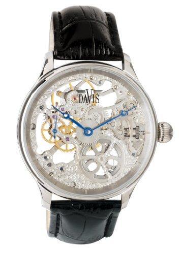 Davis-0890- Reloj Hombre Esqueleto Mecánico- Correa de Piel Negra