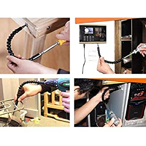 11.5 Inch Flexible Extension Shaft with 10 Drill Bit Sets, 1/4 Hex Head Magnetic Connect Drive Shaft Tip, Drill Flexible Shaft, Batch Head Connecting Rod Multi-angle Work