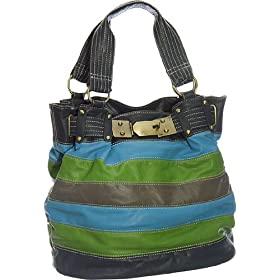 Oversized Vitalio ''Naomi'' Tote - Black, Blue & Green, Multi Color or Brown & Off White