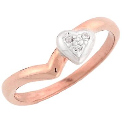 14ct Rose Gold Unique Diamond Heart Promise Ring