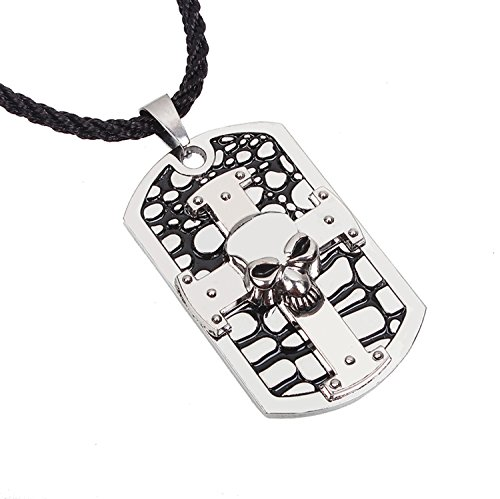 Modern Fantasy Western Smooth Touch Puck Style Embossed Rock Men Skull Vintage Black-and-white Classical Pendant Necklace
