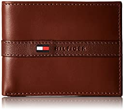 Tommy Hilfiger Men\'s Leather Ranger Passcase Wallet with Removable Card Case, Tan, One Size