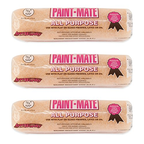 """3pc Arroworthy Paint-Mate 3/8"""" Nap Semi-Smooth All Purpose Roller Covers - Made in the USA"""