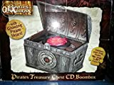 Disney Pirates Of The Caribbean Treasure Chest Boombox For Kids Top Loading CD Player & Glowing Pirate Heart with Auxiliary Input for iPod/iPhone & MP3 players