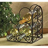 Village Iron Scroll Book End Wine Rack for 3 Bottles