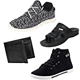 Earton Men COMBO Pack Of 4 Sports Shoes With Casual Shoes,Wallet & Sandals