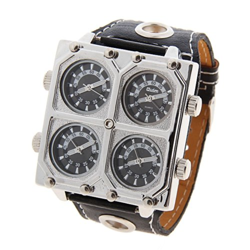 Oulm Ori-0651 男性のためのブランド冒険多機能 4 動きブラック レザー時計