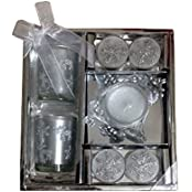 Devinez Premium 5 Tea Light Candles With Two Glass Holders