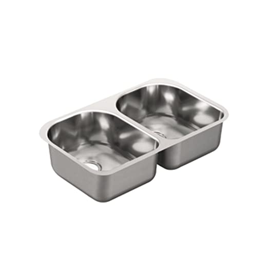 Moen G18256 1800 Series 18 Gauge Double Bowl Undermount Sink, Stainless Steel