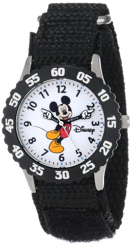 Disney Kids' W000233 Mickey Mouse Stainless Steel Time Teacher Watch with Moving Hands