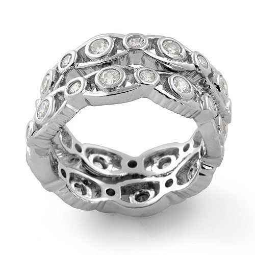Cubic Zirconia Round Cz Eternity Bridal Anniversary 2 Band Ring Sterling Silver 925 Sz 7