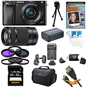 Sony a6000 ILCE6000LB ILCE-6000L/B ILCE6000 Alpha a6000 24.3 Interchangeable Lens Camera with 16-50mm Power Zoom Lens BUNDLE with SEL 55-210 (Black), 32GB Class 10 Card, Spare Battery, Deluxe Padded Case, DVD SLR Guide, SD Card Reader, and MORE