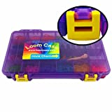 Loom Storage/Organizer/Case/Box - Fits Rainbow Loom - Most Durable On The Go Model Loom Case (see images) , Pre-Assembled , Translucent Purple with Yellow Latches , Fits Rainbow Loom , 18 Adjustable Compartments , 3 Month Replacement Warranty , Superior Latches and Hinges - Made and Assembled in the U.S.A.