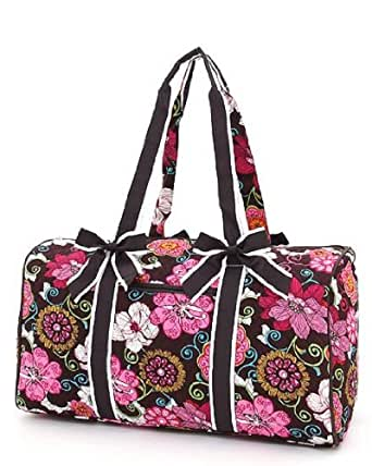belvah quilted floral 21 quot duffle bag brown