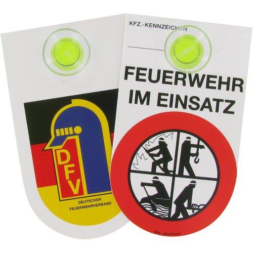 Plaque intérieure avec ventouse et inscription en allemand « Feuerwehr im Einsatz »