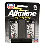 Rite Aid Batteries, Alkaline, 9V, 2 Pack 2 batteries