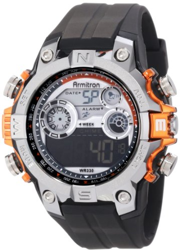 Armitron Men's 48mm Black Polyurethane Band Plastic Case Quartz Grey Dial Digital Watch 40/8251ORG