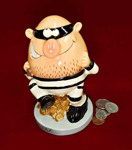 "6.5"" Jail Break Burglar Coin Piggy Bank - 1"