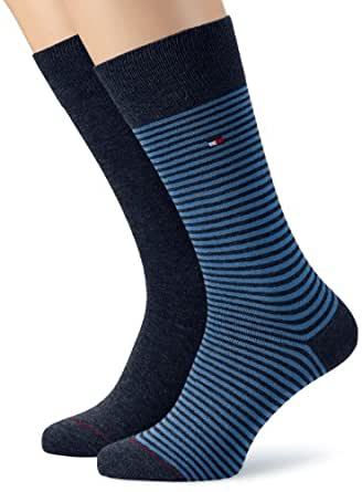 Tommy Hilfiger - Chaussettes Homme TH MEN SMALL STRIPE SOCK 2P - Bleu (silver lake blue) - FR : 43-46 (Taille fabricant : 43/46)