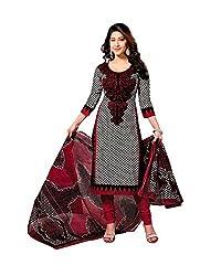 V-Kart Women's Cotton Unstitched Dress Material (Vkart_376_Red_Free Size)