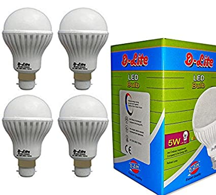 5W Plastic LED Bulb (Cool Day Light, Pack Of 4)