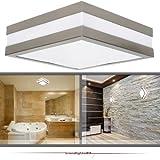 Wandleuchte Deckenleuchte SAVONA eckig / quadratisch IP44 LED E27 für bis zu 2x18 Watt; für Wohnraum, Bad, Flur, Wand, Decke; ohne Leuchtmittel
